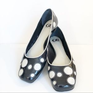 Gianni Bini Polka Dot Black Patent and White Flats